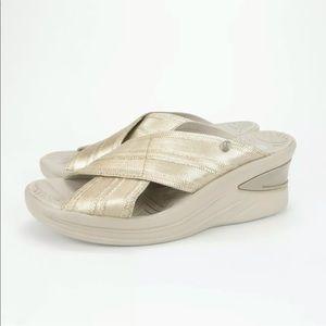 Bzees Vista Gold Comfort Wedge Slide Sandals